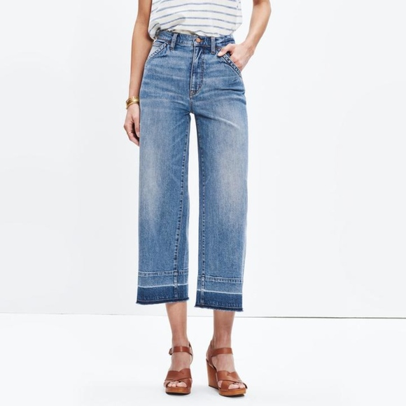 b65797a8258ed Madewell Denim - Madewell wide leg crop jeans drop hem edition